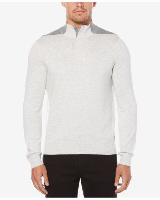 Perry Ellis - White Men's Quarter-zip Sweater for Men - Lyst