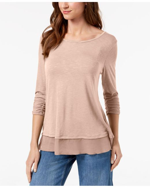 Style & Co. - Pink Chiffon-hem Three-quarter-sleeve Top - Lyst