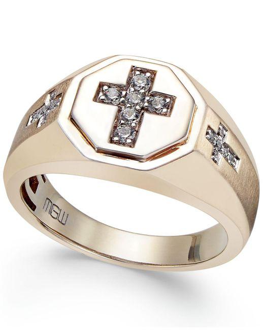 Macy's - Metallic Men's Diamond Cross Ring (1/5 Ct. T.w.) In 10k Gold - Lyst