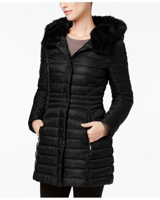 Laundry by Shelli Segal | Black Faux-fur-trim Iridescent Down Coat | Lyst