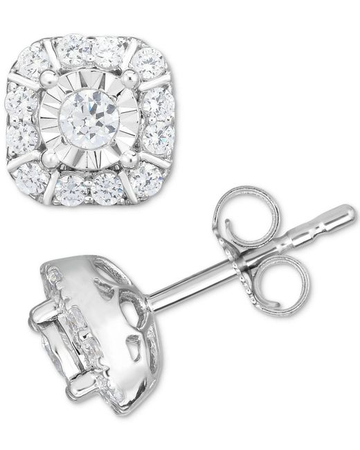 Macy's | Metallic Diamond Square Cluster Stud Earrings (1/2 Ct. T.w.) In 14k White Gold | Lyst