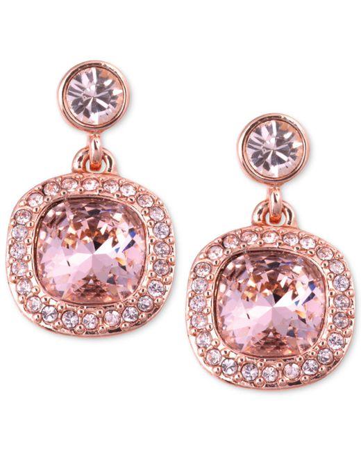 Givenchy - Earrings, Rose Gold-tone Swarovski Light Pink Stone Drop Earrings - Lyst