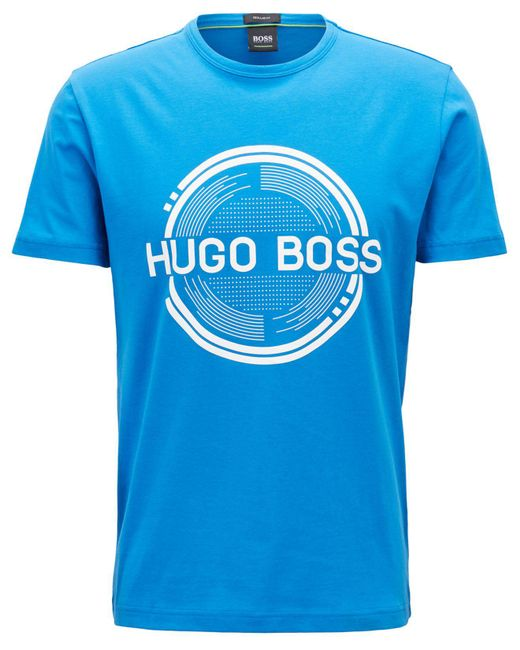 BOSS - Blue Regular/classic-fit Logo-graphic Cotton T-shirt for Men - Lyst