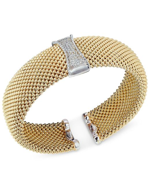 Macy's - Metallic Diamond Mesh Hinged Bangle Bracelet (1/3 Ct. T.w.) In 14k Gold-plated Sterling Silver - Lyst