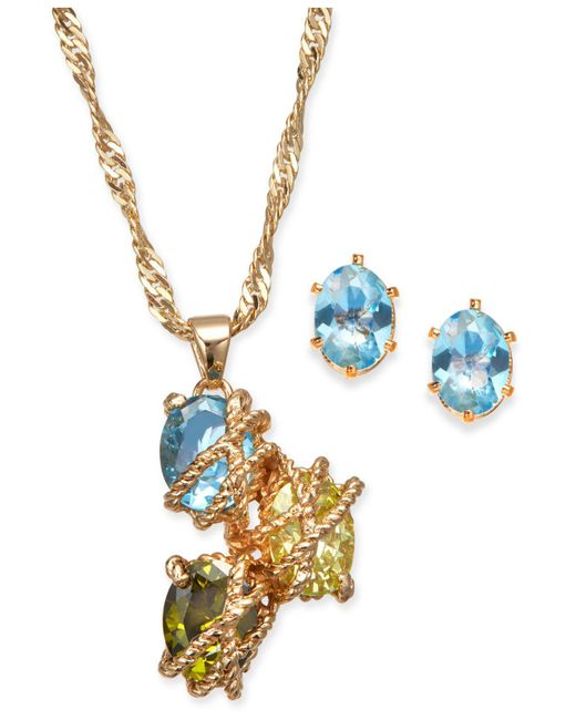 Charter Club - Metallic Gold-tone Multi-stone Wrapped Pendant Necklace & Stud Earrings Set - Lyst