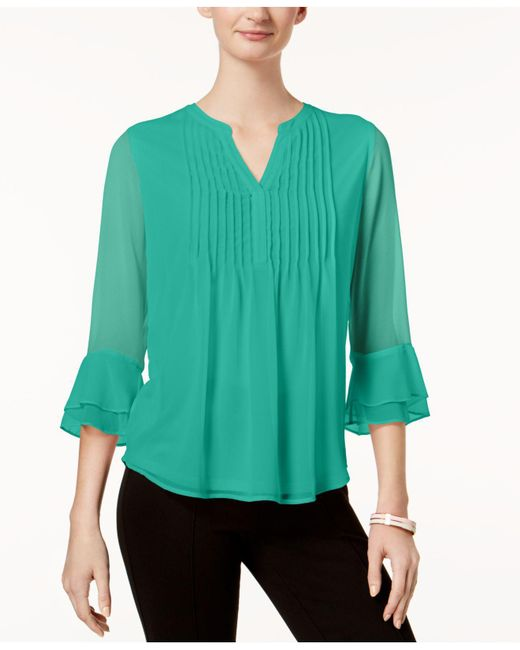 Charter Club - Green Petite Pleated Bell-sleeve Top, Created For Macy's - Lyst