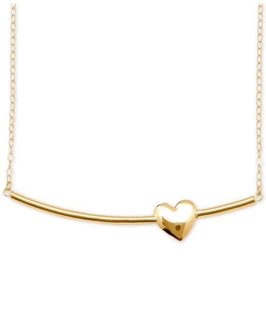 Macy's - Metallic Heart Bar Pendant Necklace In 10k Gold - Lyst