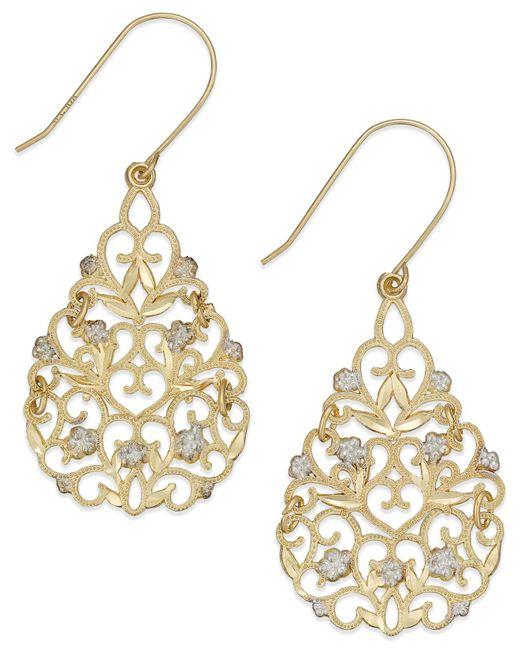 Macy's | Metallic Filigree Flower Drop Earrings In 10k Gold And Sterling Silver | Lyst
