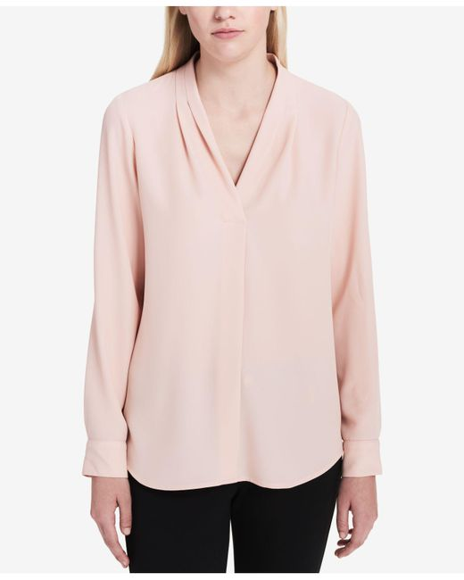 7eb1f64d949a ... Calvin Klein - Pink Pleated Roll-tab Top - Lyst