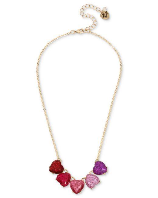 Betsey Johnson | Metallic Gold-tone Multicolor Glitter Heart Statement Necklace | Lyst