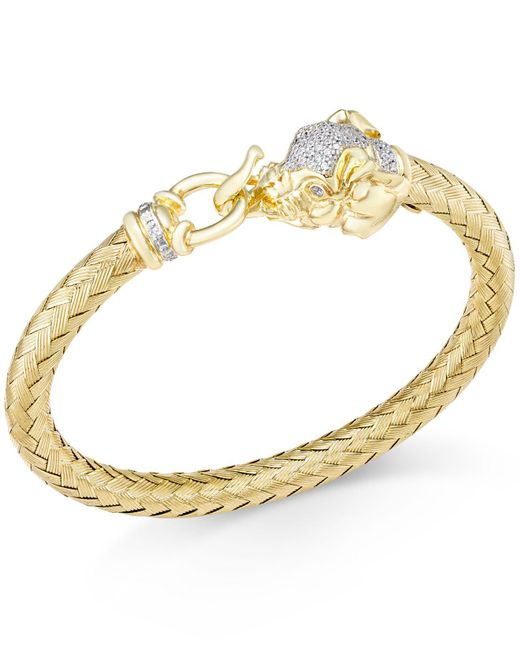 Macy's - Metallic Diamond (1/4 Ct. T.w.) And Emerald Accent Elephant Mesh Bangle Bracelet In 14k Gold-plated Sterling Silver - Lyst