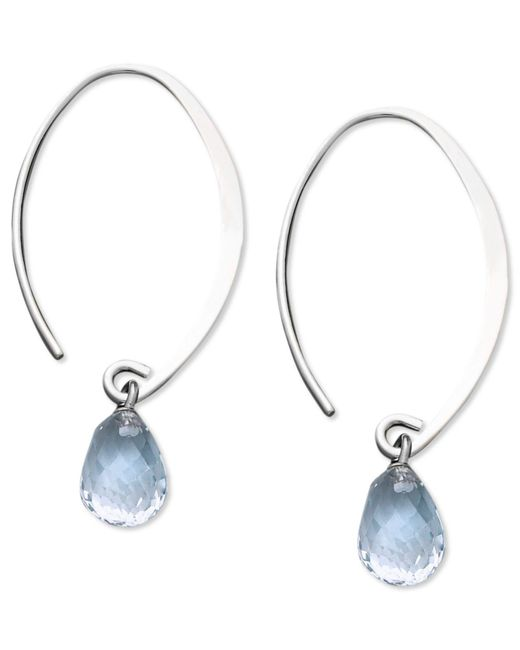 Macy's | 14k White Gold Earrings, Aquamarine Brio Hoop Earrings (3 Ct. T.w.) | Lyst