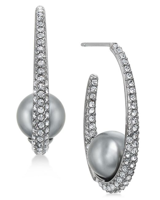 Danori | Multicolor Hematite-tone Pavé & Gray Imitation Pearl Hoop Earrings | Lyst