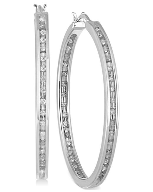 Macy's - Metallic Diamond Hoop Earrings (1/2 Ct. T.w.) In Sterling Silver - Lyst