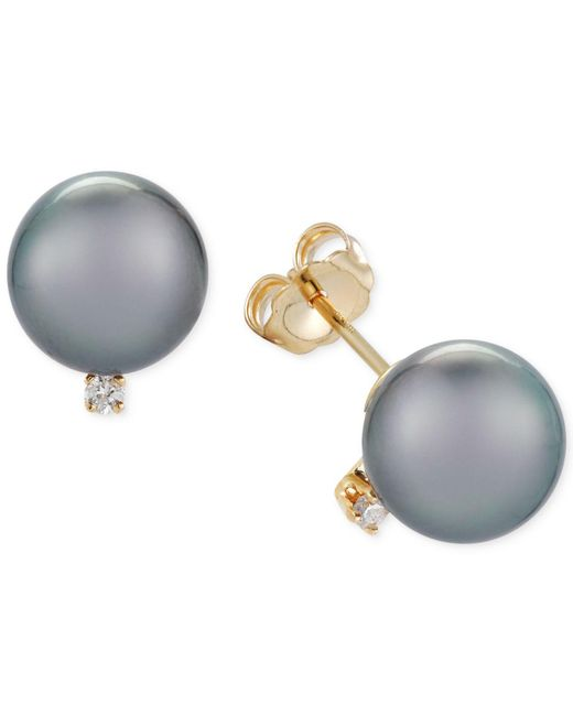 Macy's | Gray Cultured Tahitian Pearl (9mm) And Diamond Accent Stud Earrings | Lyst