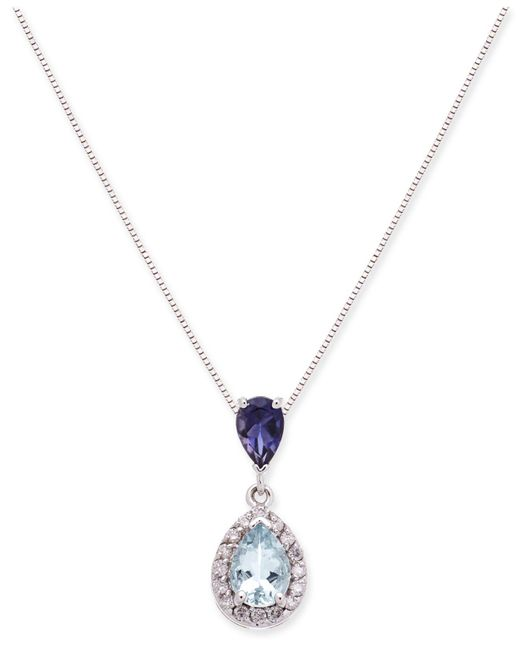 "Macy's - Metallic Aquamarine, Iolite And Diamond (1 Ct. T.w.) 18"" Pendant Necklace - Lyst"
