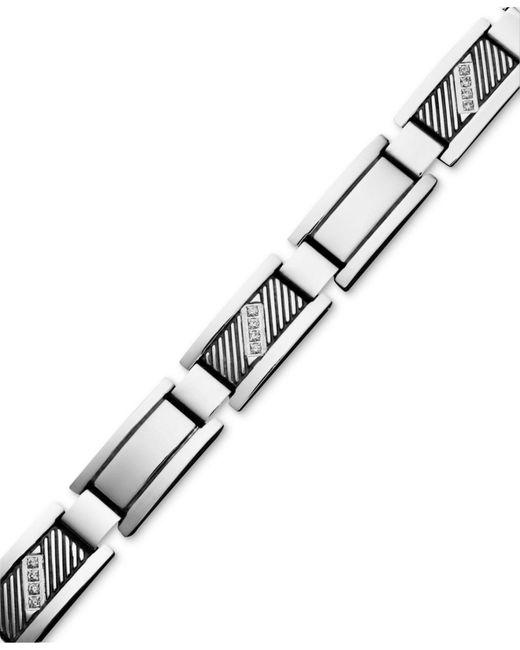 Macy's | Multicolor Men's Diamond Rectangle Link Bracelet In Stainless Steel (1/10 Ct. T.w.) | Lyst