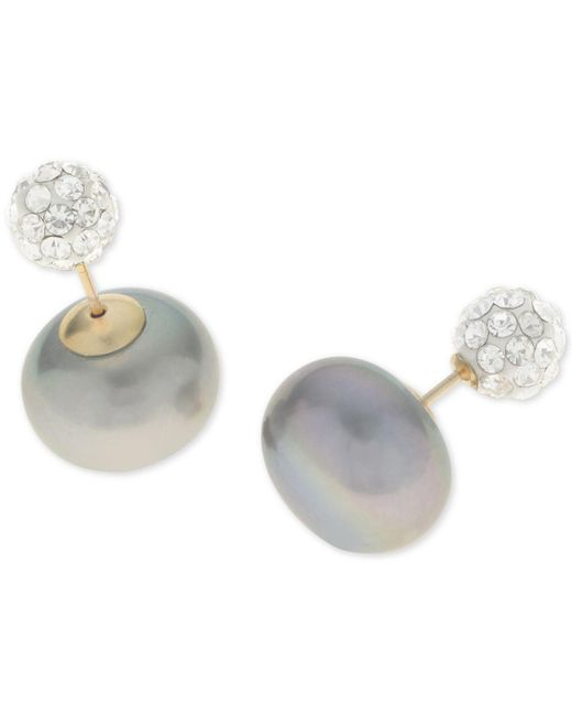 Macy's - Metallic Dyed Gray Freshwater Pearl (11mm) And Pavé Ball Front And Back Earrings In 14k Gold - Lyst