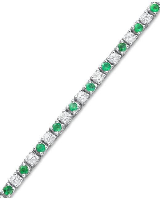Macy's - Metallic Sterling Silver Bracelet, Emerald (2 Ct. T.w.) And White Sapphire (2-1/2 Ct. T.w.) Bracelet - Lyst