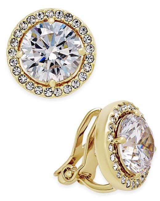Danori - Metallic Gold-tone Bezel-set Crystal Clip-on Earrings - Lyst