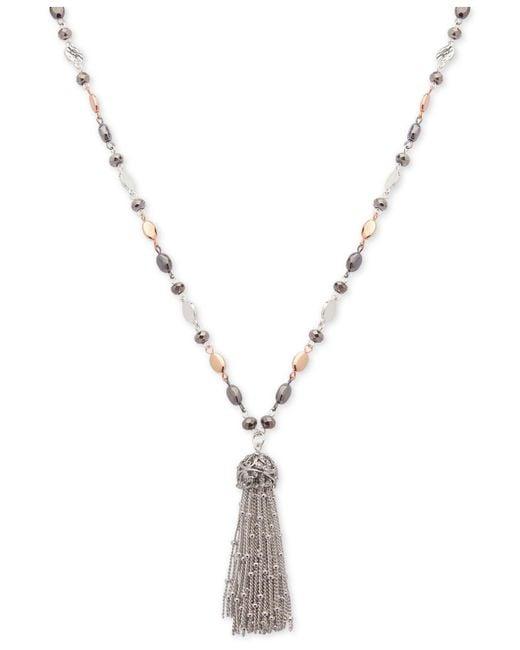 Nine West | Tri-tone Metallic Bead Long Tassel Pendant Necklace | Lyst