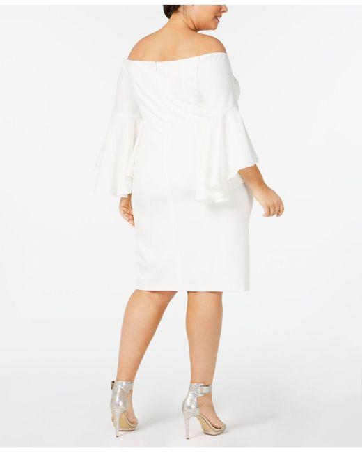 caadf8371d ... Calvin Klein - White Plus Size Off-the-shoulder Crepe Dress - Lyst ...