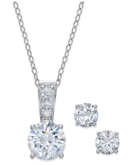 Giani Bernini - Metallic 2-pc. Set Cubic Zirconia Stud Earrings And Pendant Necklace In Sterling Silver - Lyst