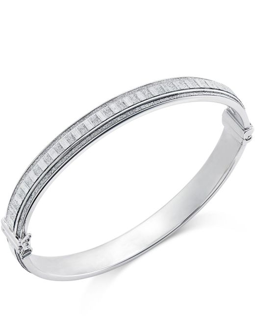 Macy's - Metallic Glitter Bangle Bracelet In Sterling Silver - Lyst