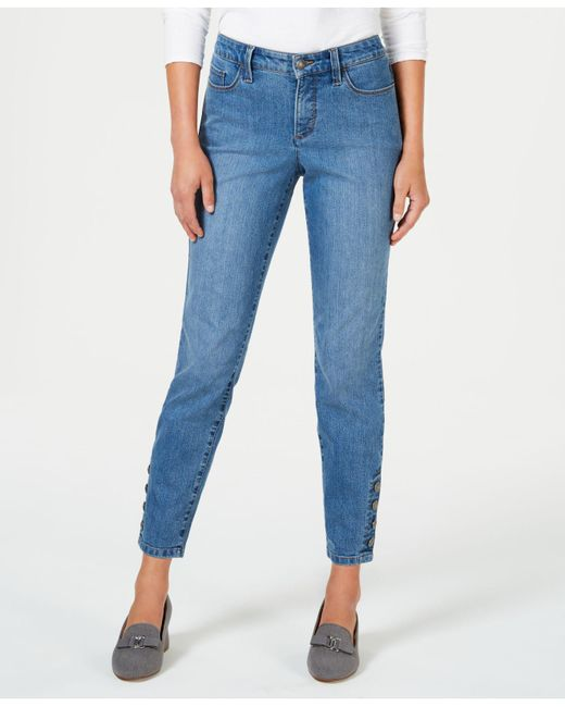 Charter Club - Blue Tummy-control Ankle-length Skinny Jeans, Created For Macy's - Lyst