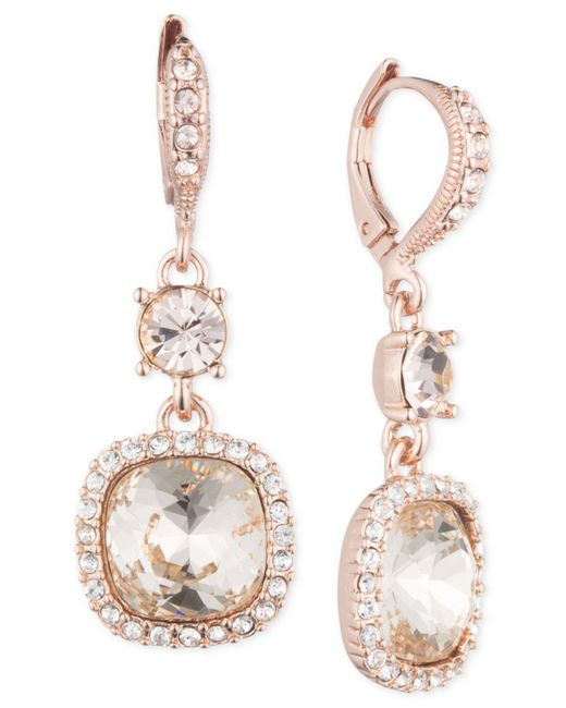 Givenchy   Pink Rose Gold-tone Cushion Double Drop Earrings   Lyst