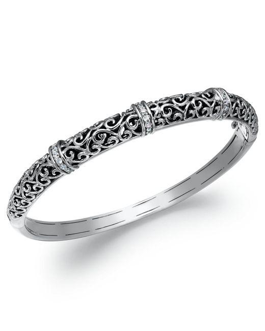 Macy's | Metallic Diamond Antique Bangle Bracelet In Sterling Silver (1/4 Ct. T.w.) | Lyst