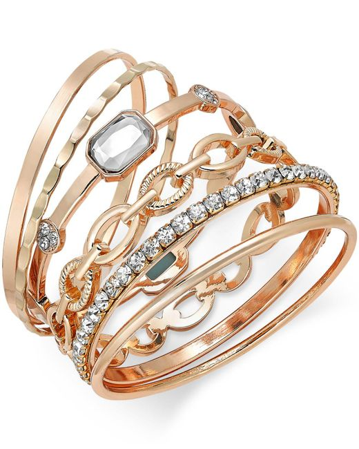 INC International Concepts - Metallic Gold-tone Crystal Enhanced Multi-bangle Bracelet - Lyst