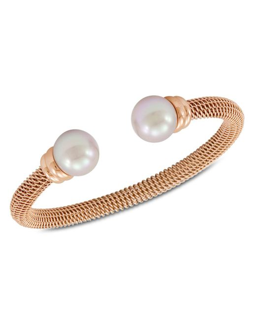 Majorica - White Bracelet, Organic Man Made Pearl And Rose Gold-tone Stainless Steel Bangle Bracelet - Lyst