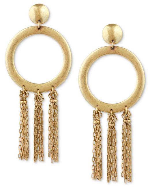 Lucky Brand   Metallic Gold-tone Circle & Chain Tassel Drop Earrings   Lyst