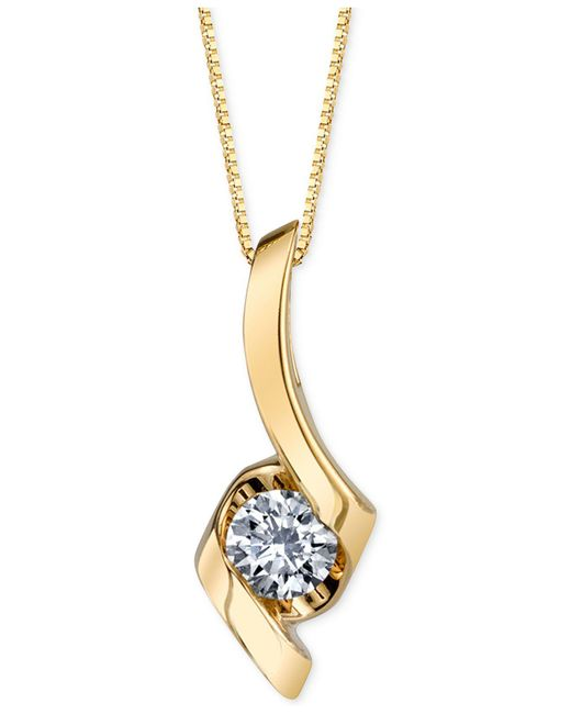 Sirena - Yellow Diamond Twist Pendant Necklace (1/4 Ct. T.w.) In 14k Gold Or White Gold - Lyst
