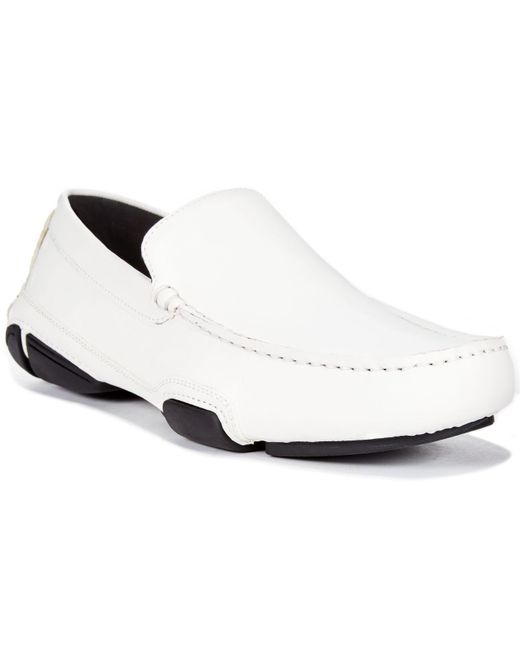 Kenneth Cole Reaction - White World Hold On Leather Drivers for Men - Lyst