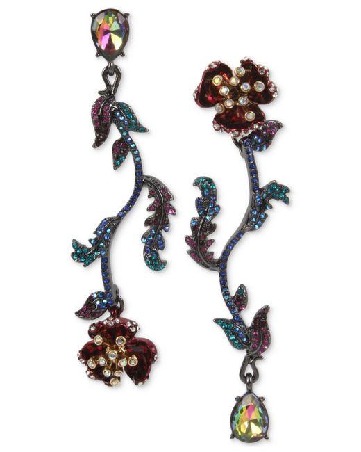 Betsey Johnson | Multicolor Two-tone Multi-stone Flower Mismatch Earrings | Lyst