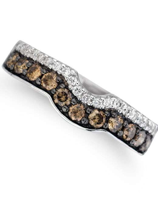 Le Vian - Metallic ® Vanilla Diamonds® (1/8 Ct. T.w.) And Chocolate Diamonds® (1/2 Ct. T.w.) Ring In 14k White Gold - Lyst