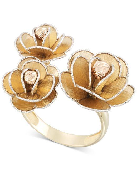 Macy's - Metallic Tri-colour Flower Ring In 14k Gold, White Gold & Rose Gold - Lyst