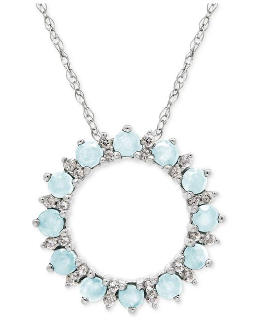 Macy's - Metallic Peridot (7/8 Ct. T.w.) And White Topaz (1/5 Ct. T.w.) Circle Pendant Necklace In Sterling Silver - Lyst
