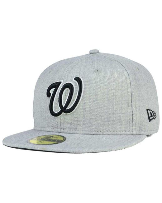 watch a8f94 81da5 order ktz gray washington nationals heather black white 59fifty cap for men  lyst f495a 384cc