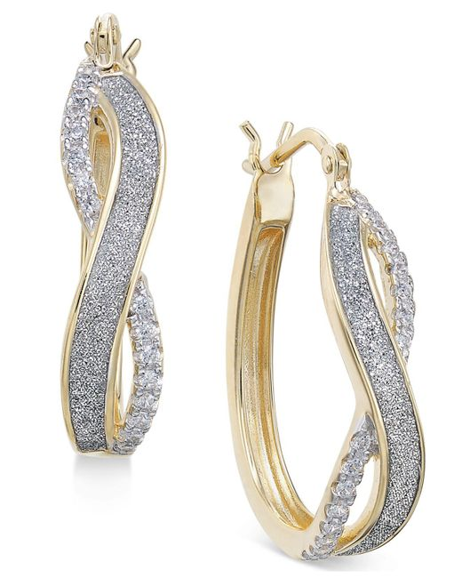 Macy's - Metallic Diamond Glitter Infinity Hoop Earrings (1/6 Ct. T.w.) In 18k Gold-plated Sterling Silver - Lyst