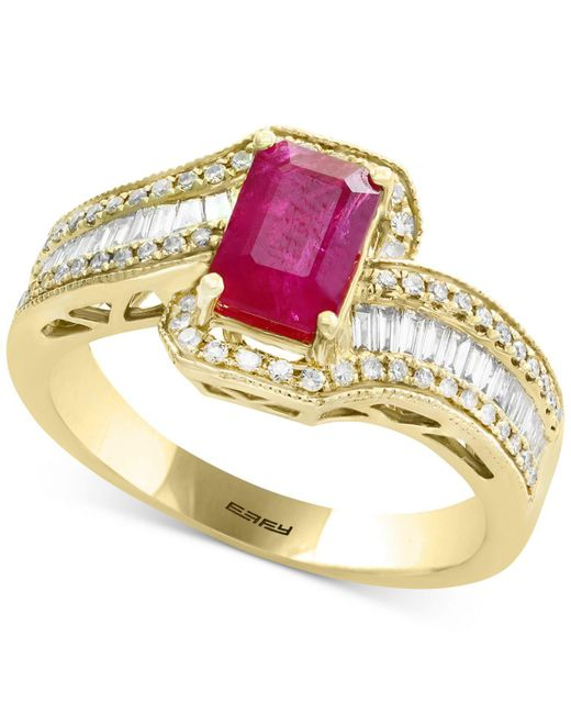 Effy Collection - Red Certified Ruby (1 Ct. T.w.) & Diamond (1/2 Ct. T.w.) Ring In 14k Gold - Lyst