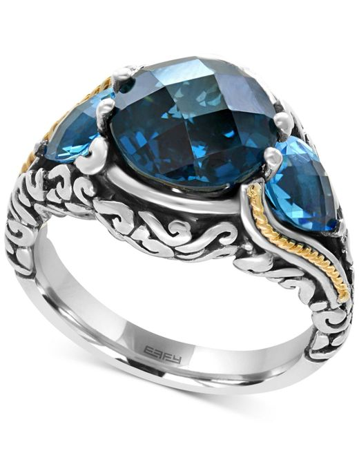 Effy Collection - Ocean Bleu By Effy® Blue Topaz (7 Ct. T.w.) Ring In Sterling Silver And 18k Gold-plate - Lyst