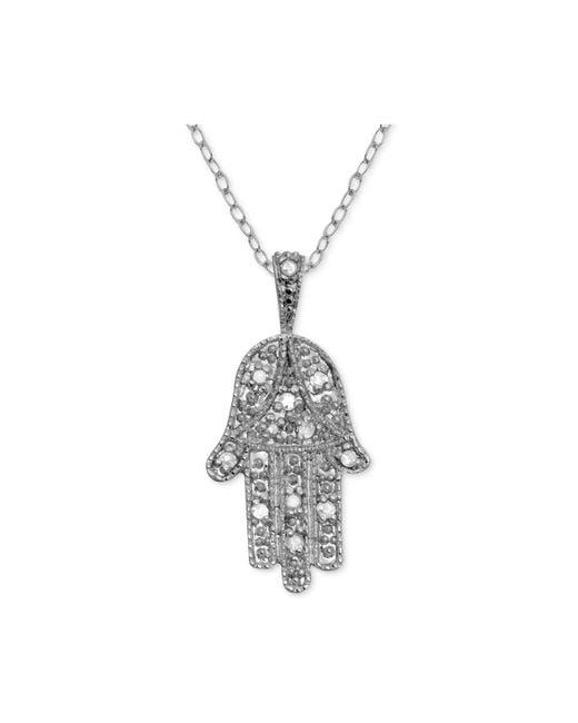 "Macy's - Metallic Diamond Hamsa Hand 18"" Pendant Necklace (1/10 Ct. T.w.) In Sterling Silver - Lyst"