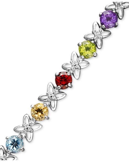 Macy's - Metallic Sterling Silver Bracelet, Multistone And Diamond Accent Flower Bracelet - Lyst