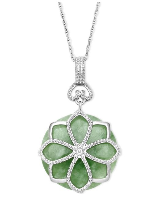 Macy's - Green Sterling Silver Necklace, Jade Flower Pendant (21 Ct. T.w.) - Lyst