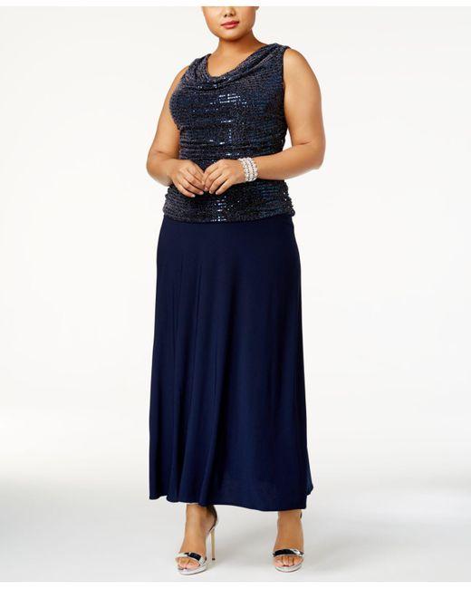 R & M Richards   Blue Plus Size Sequin Top Knit Dress   Lyst