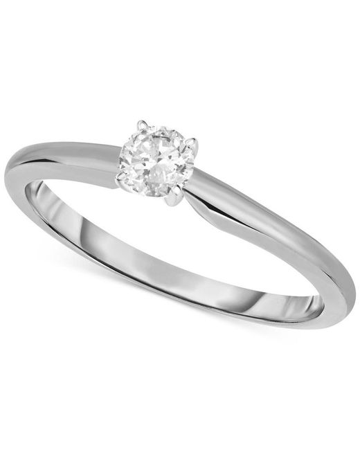 Macy's | Metallic Engagement Ring, Certified Diamond (1/3 Ct. T.w.) And 14k White Or Yellow Gold | Lyst