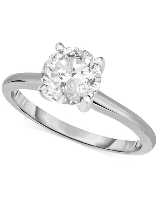 Macy's   Metallic Certified Diamond Engagement Ring In 14k White Gold (1-1/4 Ct. T.w.)   Lyst